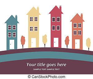 colorido, fila, de, alto, houses.