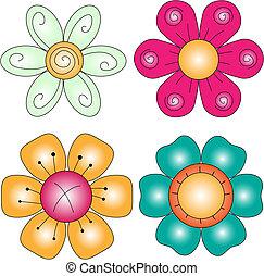 colorido, flor, colección