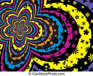 colorido, flor, y, raya, plano de fondo