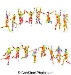 colorido, floral, modelado, siluetas, de, saltar, gente