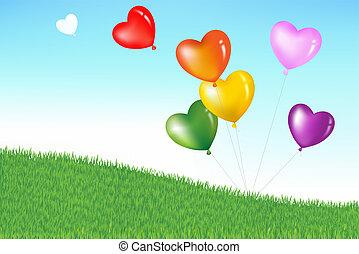 colorido, forma corazón, globos