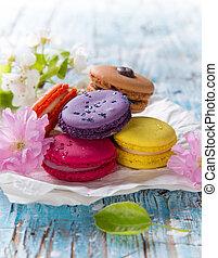 colorido, francés, macarrones