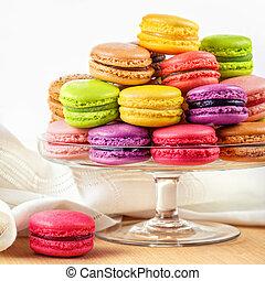 colorido, francés, vidrio, estante, macarons, pastel