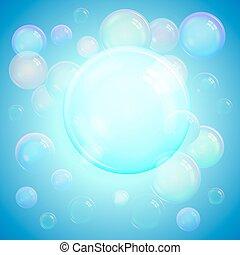 colorido, fresco, plano de fondo, de, realista, transparente, colorido, jabón burbujea, con, un, arco irirs, reflexión, en, un, luminoso, fondo azul