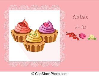 colorido, fruta, postres, sabores, vector, delicioso, ...