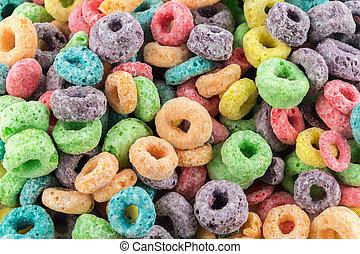 colorido, fruta, volta, cereal