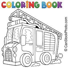 colorido, fuego, 1, tema, libro, camión