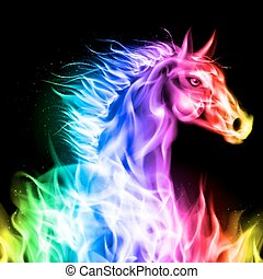 colorido, fuego, horse.