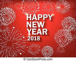 colorido, fuegos artificiales, realista, 2018, plano de fondo, año, nuevo, feliz