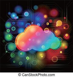 colorido, fundo, com, nuvem