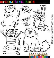 colorido, gatitos, o, gatos, caricatura, página