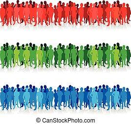 colorido, gente, siluetas