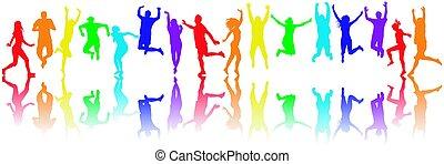 colorido, gente, siluetas, saltar