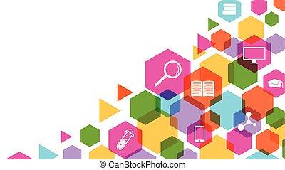 colorido, geométrico, ciencia, y, educación, concepto, plano de fondo, vector, ilustración