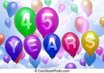 colorido, globo, 45, años, cumpleaños, globos, feliz