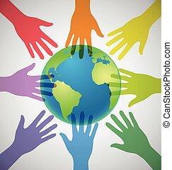 colorido, globo, muchos, unidad, circundante, manos, mundo,...