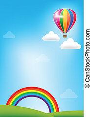 colorido, globo, y, arco irirs, en, cielo azul, plano de fondo