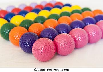 colorido, golf miniatura, pelotas