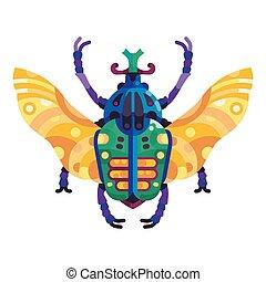 colorido, goliath, escarabajo, plano, icono, diseño
