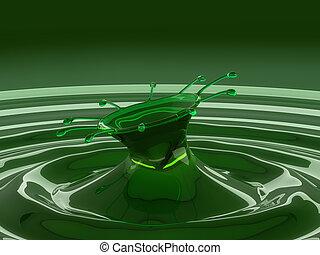 colorido, gotitas, líquido, salpicadura, verde, ondas