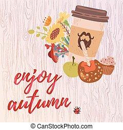 colorido, gozar, otoño, tarjeta
