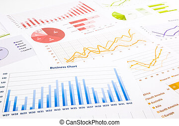 colorido, gráficos, gráficos, investigación de mercados, y,...