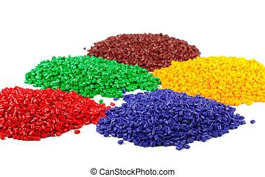 colorido, gránulos, plástico