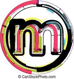colorido, grunge, fuente, letra m