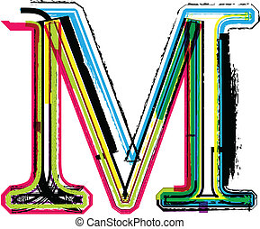 colorido, grunge, letra m