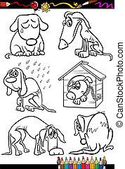 colorido, grupo, perros, libro, triste, caricatura