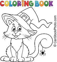 colorido, halloween, libro, gato