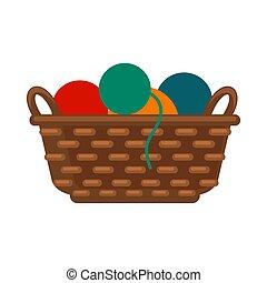 colorido, hilos, mimbre, aislado, ilustración, vector, cesta