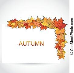 colorido, hojas del arce del otoño, con, note papel