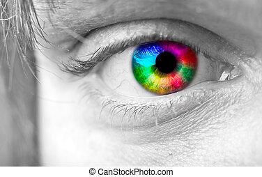 colorido, hombre, ojo