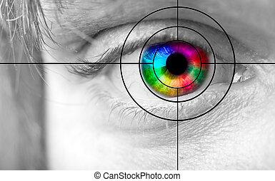 colorido, hombre, ojo, y, el, blanco