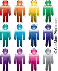 colorido, hombre, símbolos