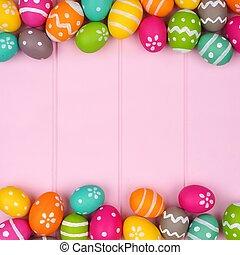 colorido, huevo de pascua, doble, frontera, contra, un, rosa, madera, plano de fondo
