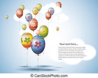 colorido, huevo de pascua, estilo, globos, en, el, cielo