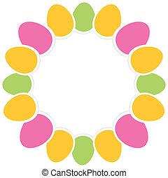 colorido, huevos de pascua, en, círculo, con, espacio de copia