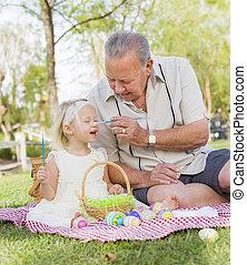 colorido, huevos, nieta, aduelo, pascua, manta