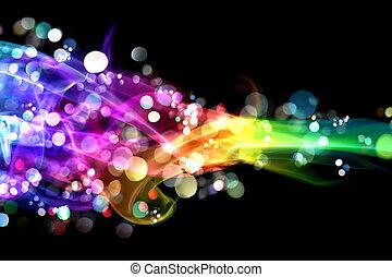 colorido, humo, y, luces