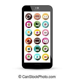 colorido, iconos, app, teléfono, tecnología, exhibición, ...
