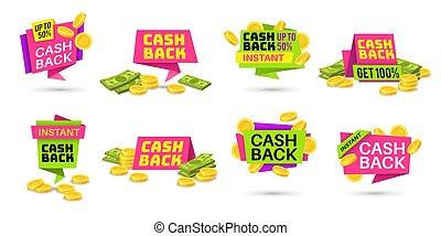 colorido, iconos, billetes banco., coins, insignias, labels., reembolso, vector, regreso, dinero, efectivo, cashback, compras, espalda, conjunto, compras
