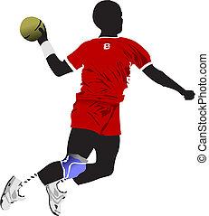 colorido, ilustração, silhouette., jogadores, vetorial, handball