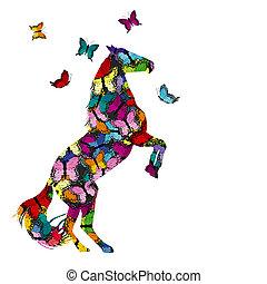 colorido, ilustración, con, modelado, caballo, y, mariposas