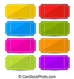 colorido, ilustración, conjunto, vector, boleto