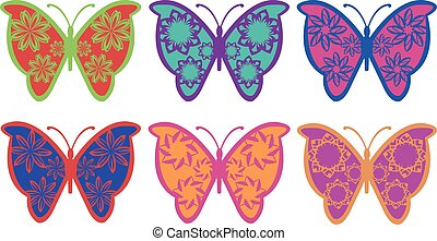 colorido, imaginación, mariposa, vector, diseño