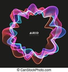 colorido, impulso, vector, spectrum., encendido, onda,...
