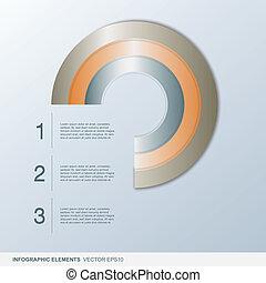 colorido, infographic, círculo, elementos