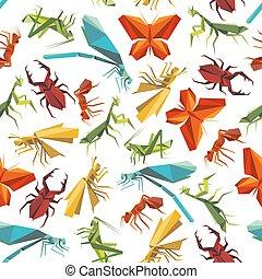 colorido, insectos, seamless, patrón, en, origami, estilo